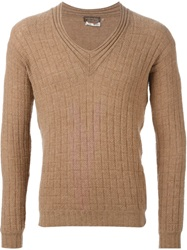 Yves Saint Laurent Vintage Knitted V Neck Pullover Nude And Neutrals