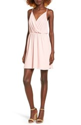 Lush Women's Surplice Camisole Dress Silver Pink