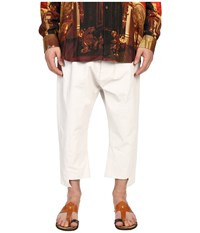 Vivienne Westwood Printed Linen Twist Seam Samurai Pants White Men's Casual Pants