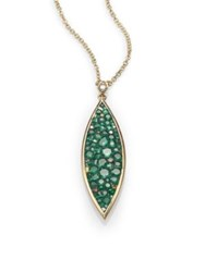 Pleve Verde Tsavorite Diamond And 18K Yellow Gold Marquis Pendant Necklace Green Gold