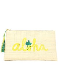 Kayu Aloha Embroidered Straw Clutch Beige