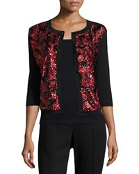 Michael Simon Sequined Floral Button Front Cardigan Petite Red W Black