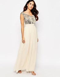 Little Mistress Maxi Dress With Sequin Body Gold