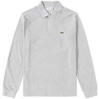 Lacoste Long Sleeve Marl Pique Polo Grey