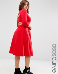 Asos Curve Midi Skater With Cut Out Back Red
