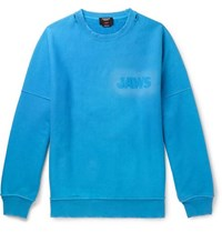 Calvin Klein 205W39nyc Oversized Distressed Loopback Cotton Jersey Sweatshirt Light Blue
