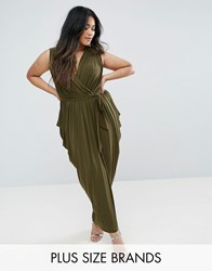 Club L Waterfall Drape Detail Maxi Dress Khaki Green