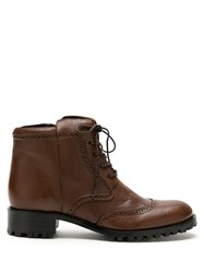 Sarah Chofakian Chelsea Lace Up Leather Boots Brown