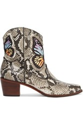 Sophia Webster Shelby Embroidered Snake Effect Leather Ankle Boots Snake Print