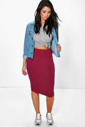 Boohoo Midi Jersey Tube Skirt Berry
