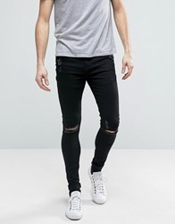 Brooklyn Supply Co. Co Muscle Fit Extreme Skinny Jeans With Distressing Black