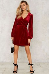After Party By Nasty Gal Mistletoe Velvet Wrap Dress Red