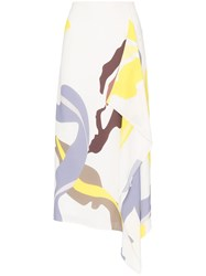 Tibi Abstract Print Asymmetric Midi Skirt Multicolour