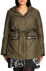 City Chic Plus Size Women's Faux Fur And Faux Leather Trim Hooded Drawstring Parka