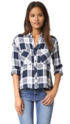 Rails Dylan Button Down Shirt White Navy Forest