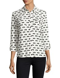 Karl Lagerfeld Sunglasses Printed Blouse Soft White Multi