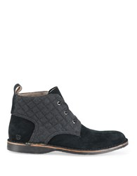 Andrew Marc New York Dorchester Quilted Suede Chukka Boots Black