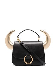 Moschino Horn Detailed Tote Black
