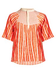 Ace And Jig Bronte Striped Jacquard Top Orange Multi