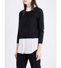 Claudie Pierlot Marylou Knitted And Chiffon Top Noir