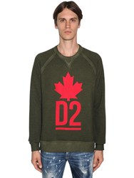 Dsquared Printed Cotton Jersey Sweatshirt Army Green
