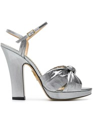Charlotte Olympia Silver Farrahc Sandals Nylon Leather Metallic