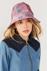 Urban Outfitters Pineapple Jacquard Bucket Hat Pink
