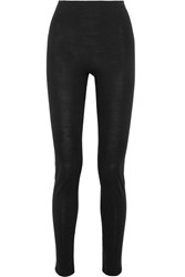 Hanro Merino Wool And Silk Blend Jersey Leggings Black Gbp