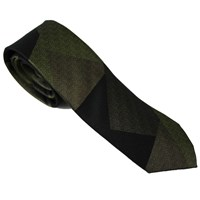 Lords Of Harlech Patchwork Camo Tie In Olive Green Black