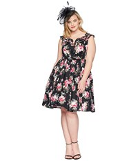 Unique Vintage Plus Size Olive Swing Dress Black Floral Multi