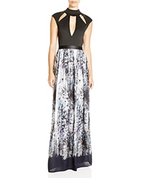 Abs By Allen Schwartz Cutout Printed Skirt Gown Multi