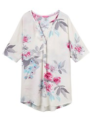 Joules Carys Printed Tunic Top Creme Bloom