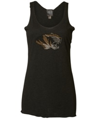 Myu Apparel Women's Missouri Tigers Rhinestone Racerback Tank Top Black