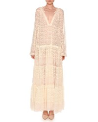 Stella Mccartney Long Sleeve Boho Lace Maxi Dress Ivory