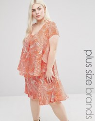 Koko Plus Frill Dress In Abstract Print Coral White Pink