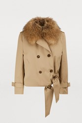 Each X Other Faux Fur Collar Coat Beige