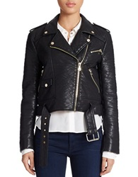 French Connection Generation Faux Leather Moto Jacket Black