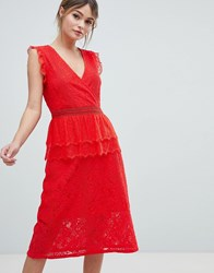 Liquorish Lace Midi Dress Red