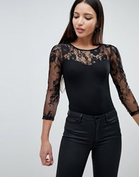 Ax Paris Body With Lace Sleeve Black