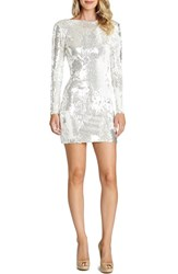 Women's Dress The Population 'Lola' Backless Sequin Minidress Mirrored White