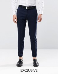 Only And Sons Skinny Smart Trousers With Stretch Turn Up Navy