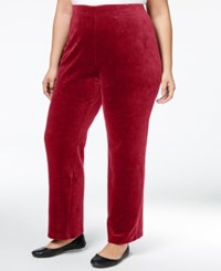 Karen Scott Plus Size Velour Pull On Pants Only At Macy's Prussian Red