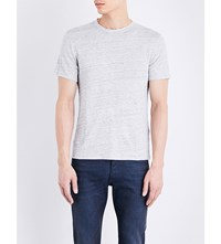 Sandro Marl Effect Linen T Shirt Grey