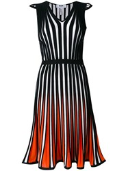 Msgm Striped Flared Dress Women Cotton Viscose 46 Black