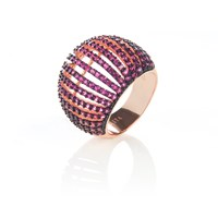 Latelita London Comb Ring Rosegold Ruby Zircon Red Rose Gold Pink