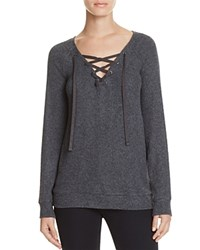Velvet By Graham And Spencer Lace Up Sweater Anthracite