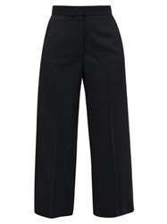 Stella Mccartney Cropped Straight Leg Wool Blend Trousers Black