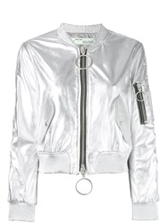 Off White Zipped Jacket Women Lamb Skin Viscose M Metallic