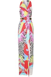 Just Cavalli Printed Cutout Stretch Crepe Gown Red