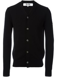 Comme Des Garcons Play V Neck Cardigan Black